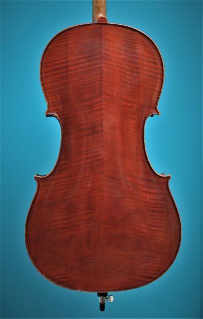 Full size Cello 'Jayhaide' model Stradivari, back, Lucienne Vioolbouw De Luthiers Dordrecht