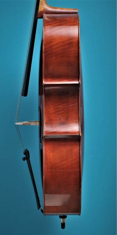 Full size Cello 'Jayhaide' model Stradivari, side, Lucienne Vioolbouw De Luthiers Dordrecht
