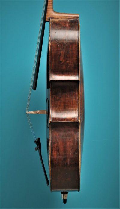Cello Tyroler Origine, Mittenwald ca.1800, Lucienne Vioolbouw De Luthiers Dordrecht, side