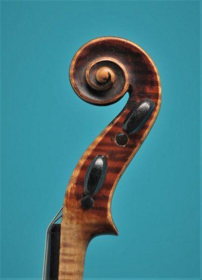 Full size violin Bernardel Paris 19'eeuw Lucienne Vioolbouw Dordrecht scroll